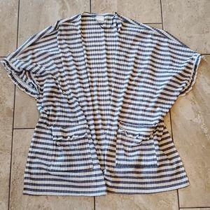 3/$15 poncho light weight striped ruffles sonoma